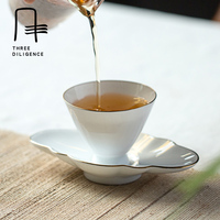 European Style Teacup Holder Bone China With Gold Line Tea Cups Porcelain Trays Plate Pad Coffee