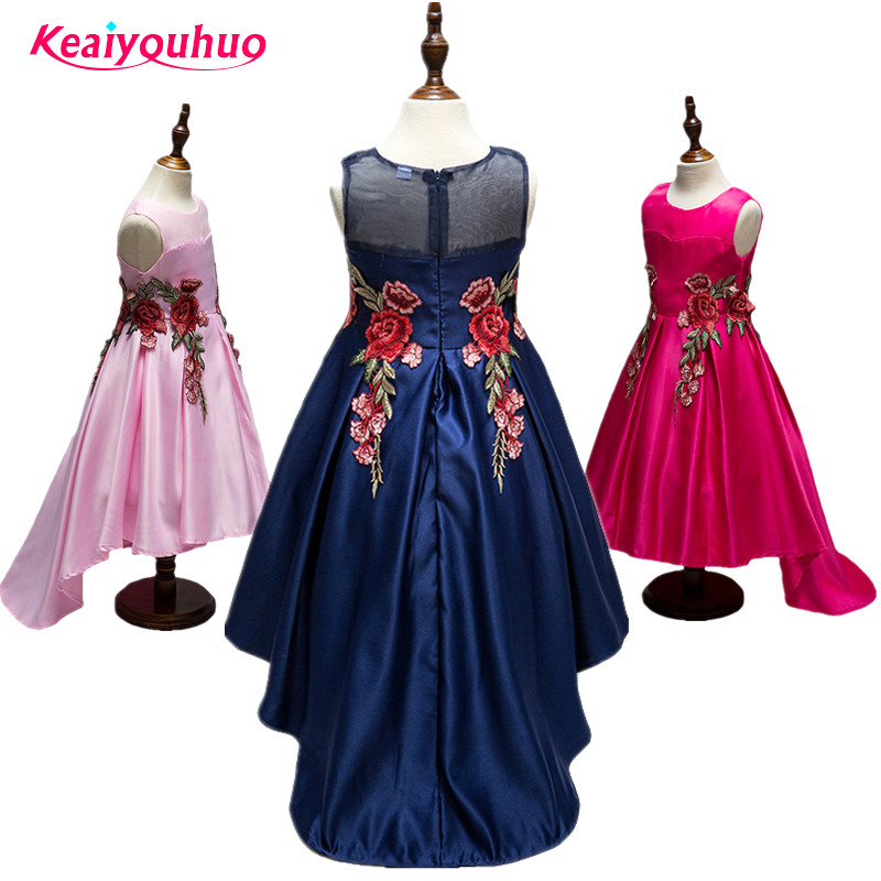 2018 New Summer Baby Girls Party Dress Evening Wear Long Tail Girls Clothes Elegant embroidery Flower Girl Dress Kids Baby Dress high grade 2017 summer new baby girls party dress wedding clothes long tail 1 6 yrs girls flower dresses kids clothes retail