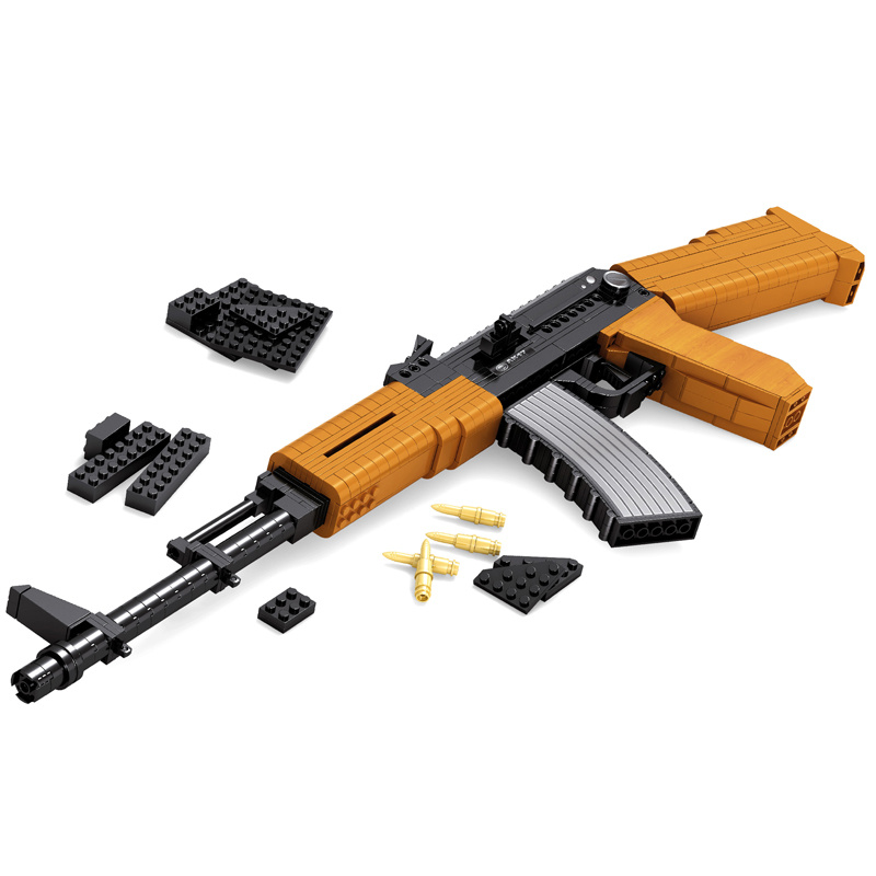 Classic toys weapon AK 47 Gun Model 1:1 Toys Building Blocks Sets 617pcs Educational DIY Assemblage Bricks Toy Support wholesale [yamala]military firewire blocks soldier war weapon bricks building blocks sets classic airman toys for children diy heavy gun