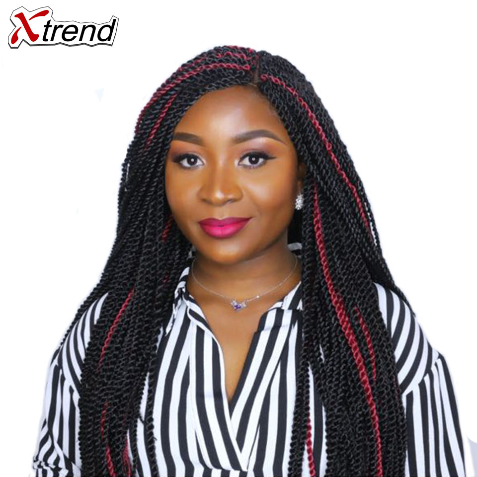 Xtrend 14 18 22 inch 30roots Senegalese Twist Hair Crochet Braid Extensions Ombre Kanekalon Jumbo Synthetic Hair For Braiding