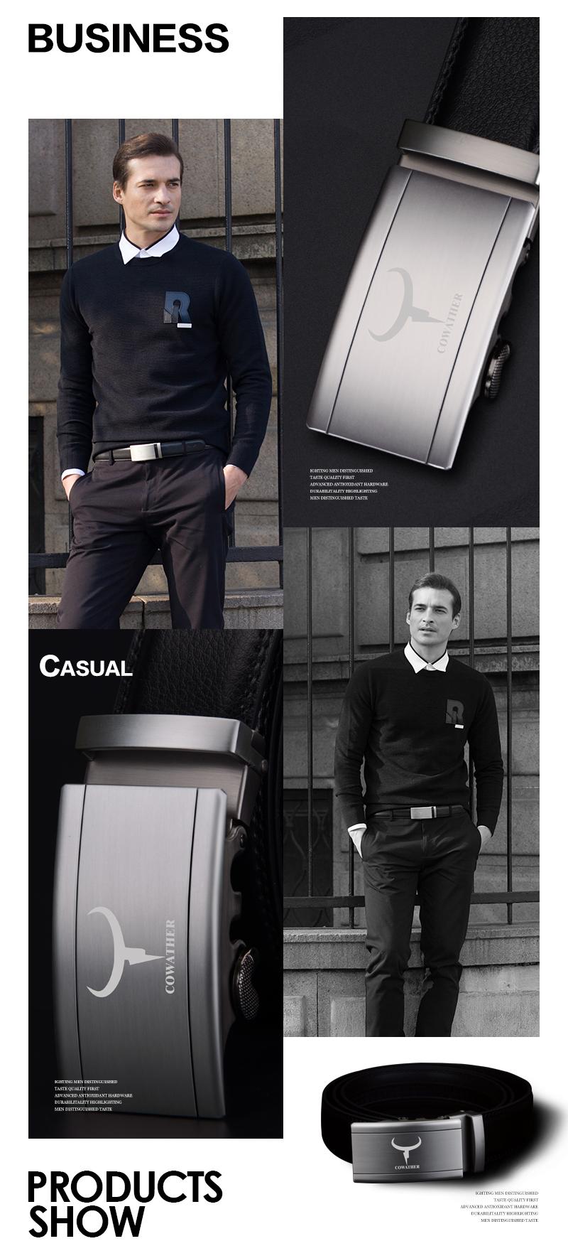 حزام COWATHER جلد طبيعي للرجال 6