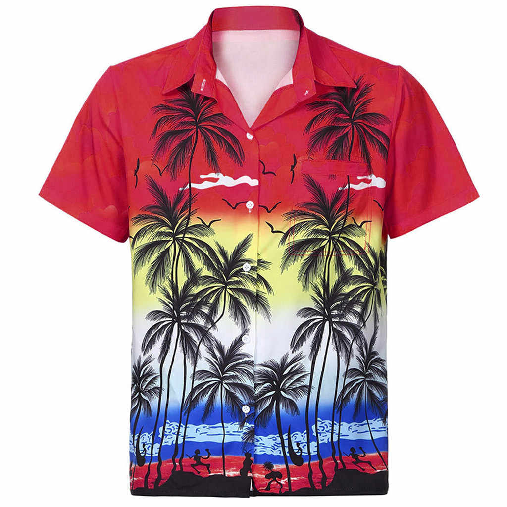 2019 Мужская гавайская рубашка, короткий рукав, передний карман, Пляжная блузка с цветочным принтом, большие размеры, Мужская гавайская рубашка, цветная рубашка