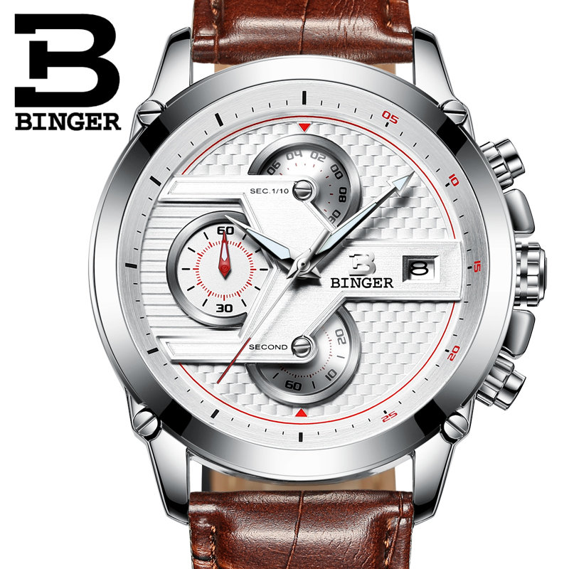Reloj Hombre 2016 BINGER Fashion Chronograph Sport Mens Watches Top Brand Luxury Military Quartz Watch Clock Relogio Masculino