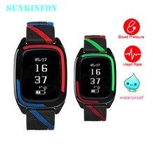 Sunkinfon SKFDB05 спортивные Фитнес группа Сенсорный экран Смарт Браслет часы Приборы для измерения артериального давления сердечного ритма Мониторы шагомер