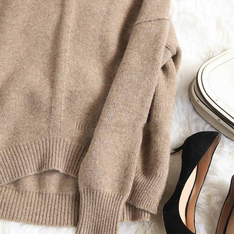 BELIARST осенний и зимний Новый кашемировый свитер женский пуловер с высоким воротником Свободный толстый свитер короткий абзац вязаная рубашка