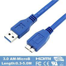 USB 3.0 Micro-B Соединительный кабель 30 см 60 см 100 см 150 см 1ft 2ft 3ft 5ft для lacie Seagate WD My Passport Портативный жёсткий диск