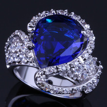 Perfect Big Water Drop Blue Cubic Zirconia White CZ 925 Sterling Silver Ring For Women V0570