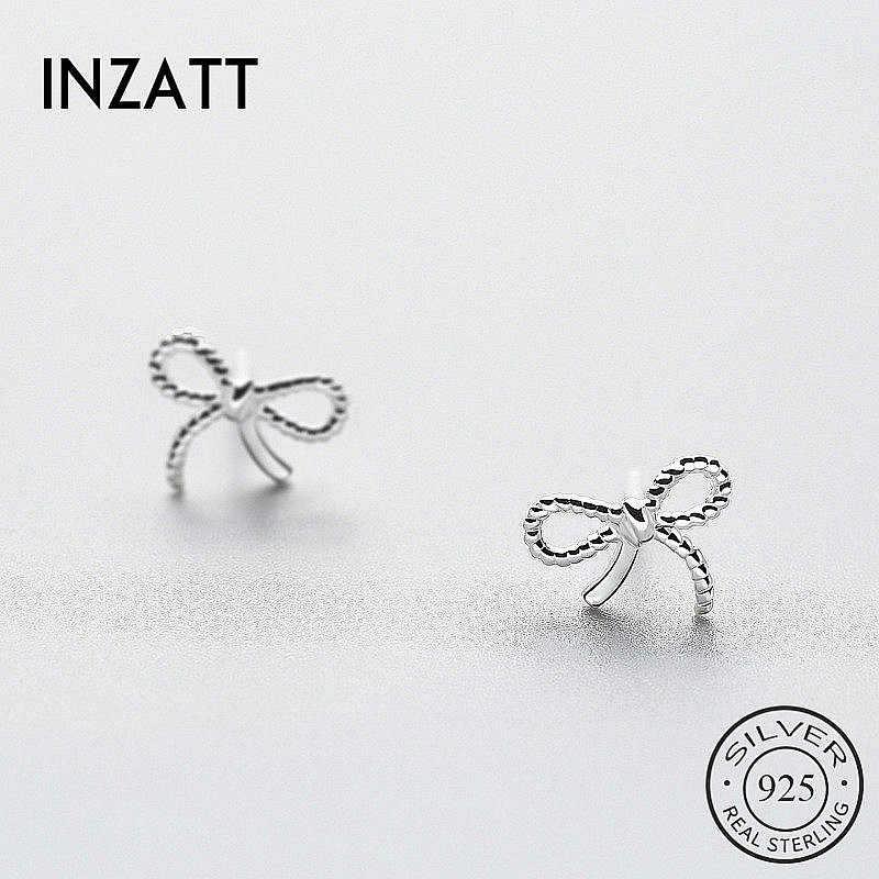 Inzatt Trendi Twist Berongga Ikatan Simpul Stud Anting-Anting untuk Wanita Pesta Pesona Nyata 925 Sterling Silver Perhiasan Fashion Aksesoris