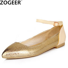 Big size 43 New Fashion Ankle Strap Women Flats PU Leather Gold Silver Shoes  Pointed Toe Shallow Casual Flat Heel Shoes Woman 4979f2208c49