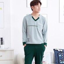 Brand New Autumn Winter 100 Cotton Long Sleeved font b Men s b font Pajama Sets