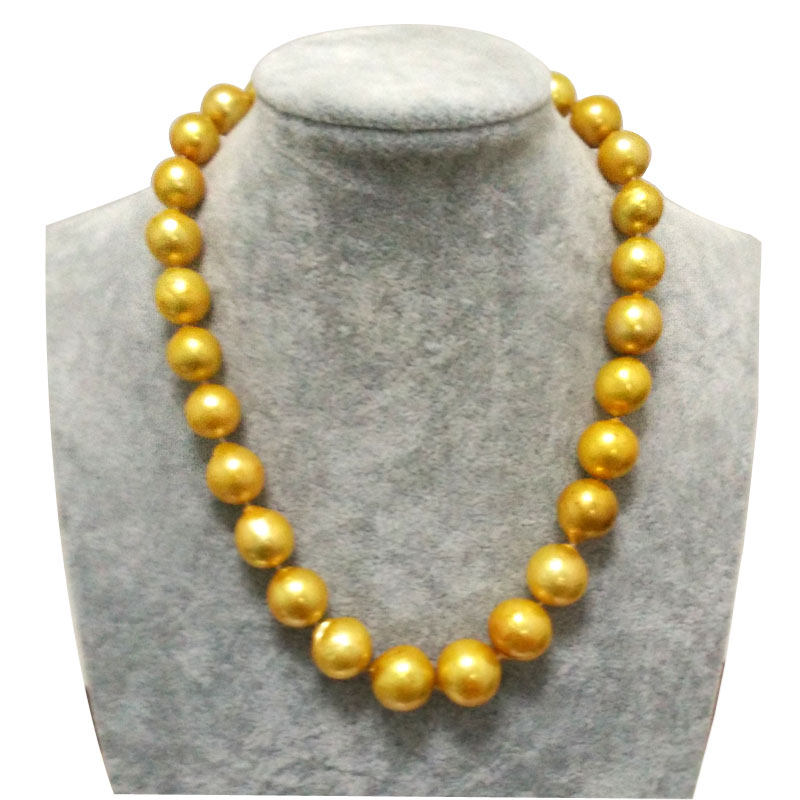 17 inches 12-17mm Large Round Golden Nucleated Edison Pearl Necklace with Heart Sterling Silver Clasp