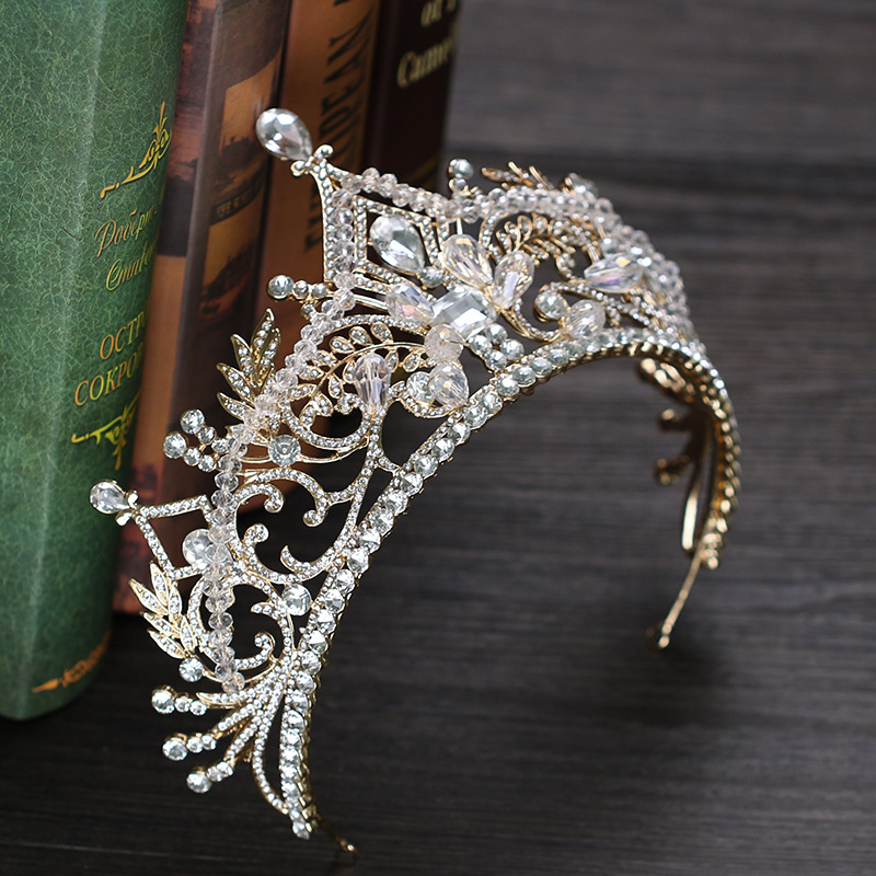 Vintage Big Crown Queen Tiara Hair Jewelry Gold Crysta Crown For Wedding Bride Hair Accessories GL-367