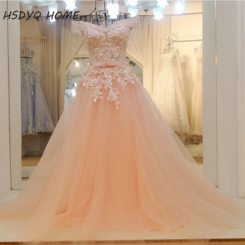 Summer Pink Evening Prom dresses Ball Gown Appliques Beading Evening dress Long Real Photo Party Gown