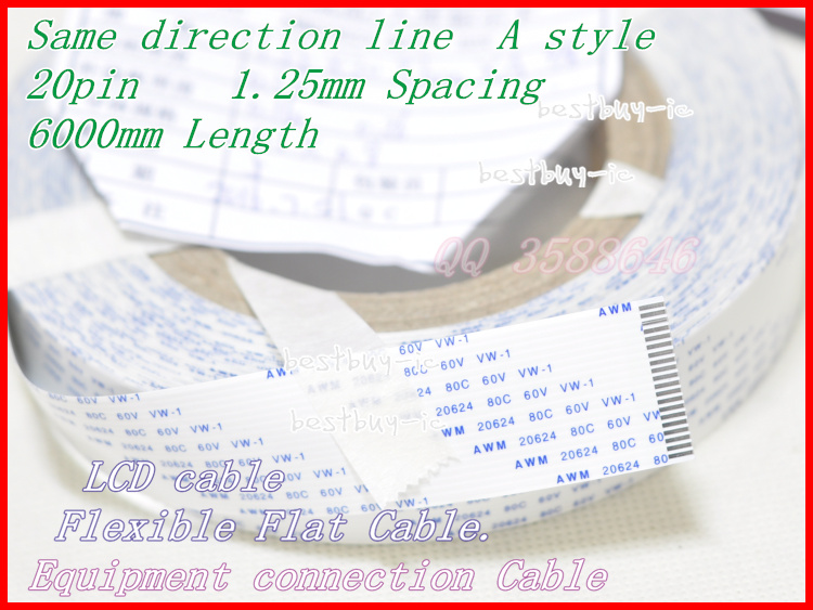 1.25mm Spacing + 6000mm Length +20P A / same direction line Soft wire FFC Flexible Flat Cable. 20P *1.25A *6000MM1.25mm Spacing + 6000mm Length +20P A / same direction line Soft wire FFC Flexible Flat Cable. 20P *1.25A *6000MM