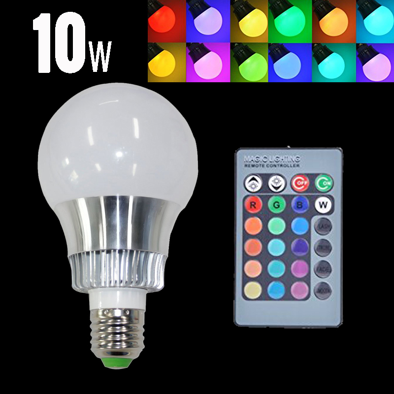 E27 10W RGB LED Bulb Light Lamp 220v 110V Dimmable Magic RGB Lampada 16 Color Changing MultiColor Christmas Light With IR Remote