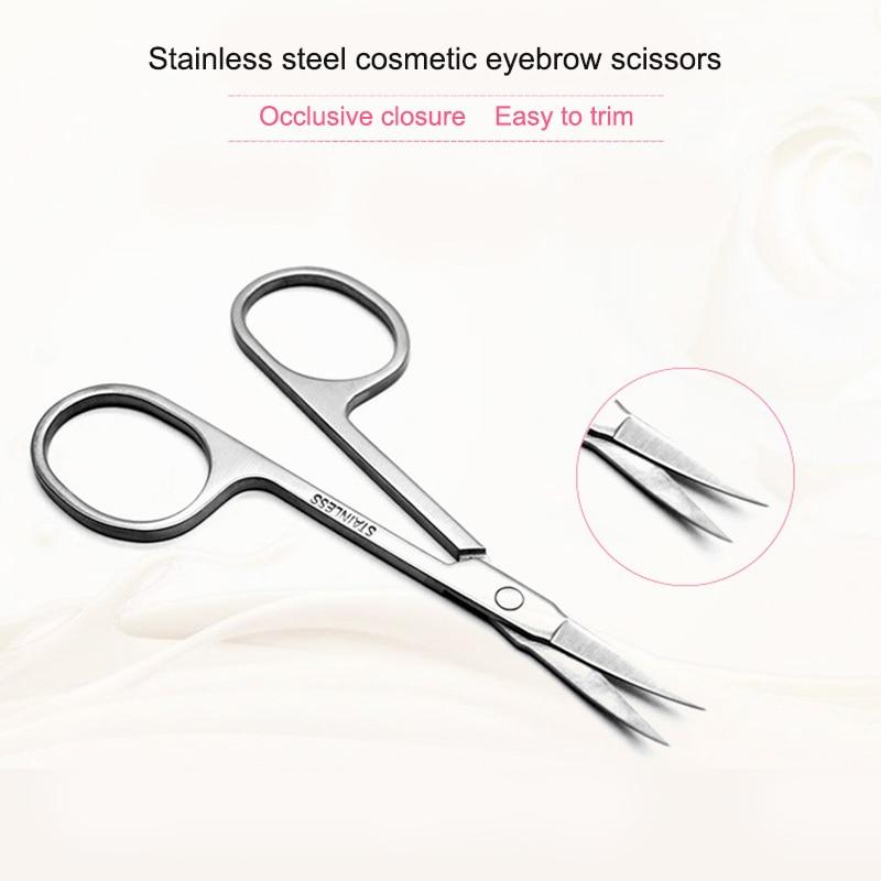 Hot Sale Stainless Steel Sharp Tip Eyebrow Makeup Scissors Face Hair Trimming Tweezer Scissors Beauty Tool