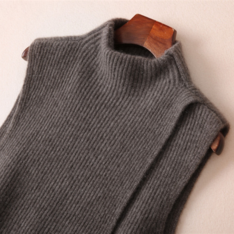 Autumn and Winter New Cashmere Knitted Vest Female Models Long Loose Cashmere Sweater Sleeveless Turtleneck Wool Vest