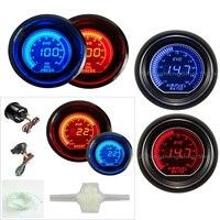 52mm carro calibre turbo boost psi pressão de óleo ar combustível nível relação calibres 12 v carro azul e vermelho led medidor de luz auto digital