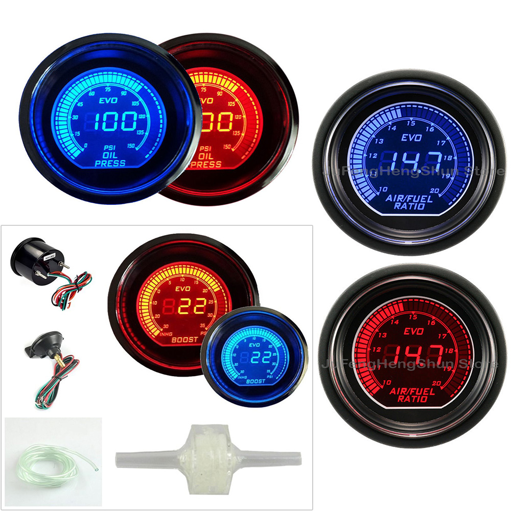 52mm jauge de voiture Turbo Boost Psi de Pression D'huile Air Carburant niveau Ratio Jauges 12 V Voiture Bleu et lumière led rouge Mètre auto jauge numérique