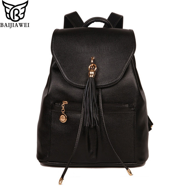 BAIJIAWEI Tassel Design PU Leather Women Backpacks Casual Travel Shoulders Package High Quality Female School Bag Back Packs
