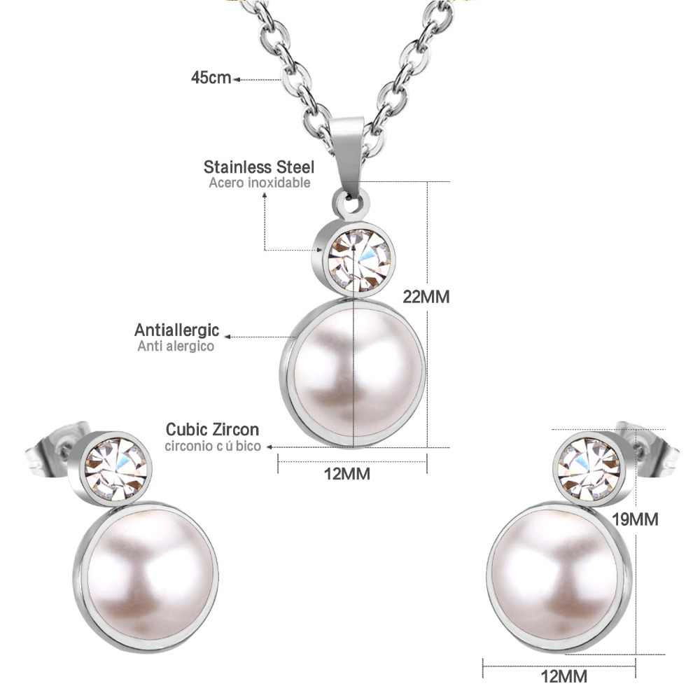 LUXUKISSKIDS Silver Stainless Steel Fake Pearl Pendant Necklace Small Stud Earring Zircon Wedding Jewelry Sets For Women Girl