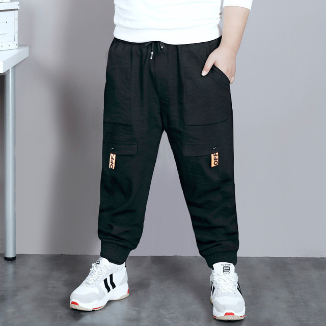 Big Boys Pants Autumn Teenage School Boys Trousers Casual Fat Kids Solid Long Pant Breathable Plus Size Clothes for 8 16 Years
