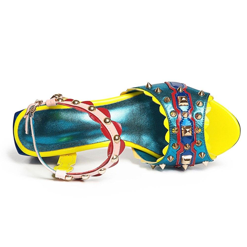 D'été Sandales De Fête Femmes Myfitgo Dames Coloré 5 Cuir Rivets Chaussures T strap Spartiates Red Rose En Cm 2019 Spectacle blue Talons Femelle 5 UwUn0pHtZ