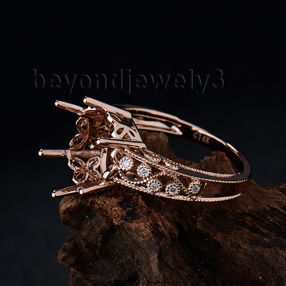 Customized 14Kt Rose Gold Natural SI Clarity Diamond 10x12mm Ring Mountings For Oval Stones WU004