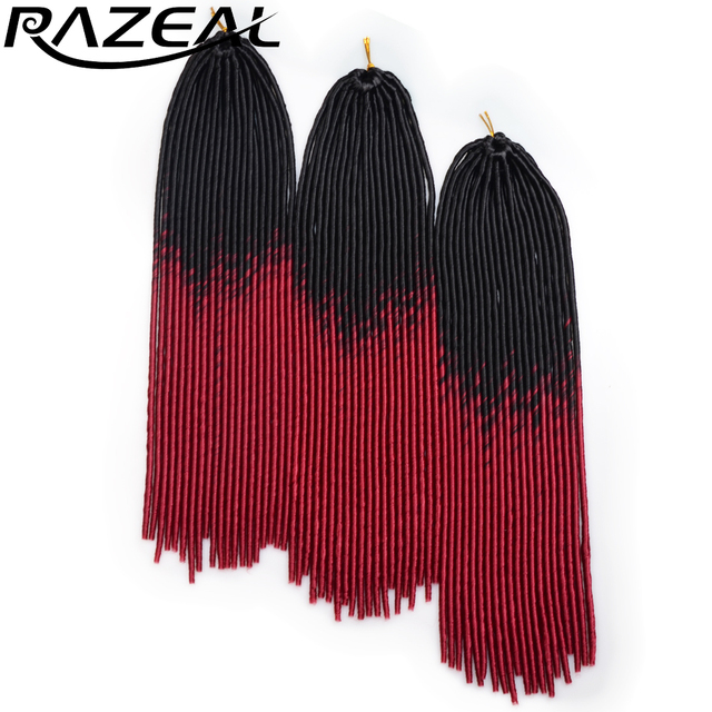 6 PCS Razeal 20inch Crochet Braids Hair 100g African Fuax Locks Ombre Synthetic Braiding Hair Extensions High Temperature Fiber