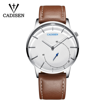 2018 CADISEN Quartz Men Watch Leather Fashion Large Dial Military Sport watches High Quality Clock Wristwatch Relogio Masculino Quartz Watches