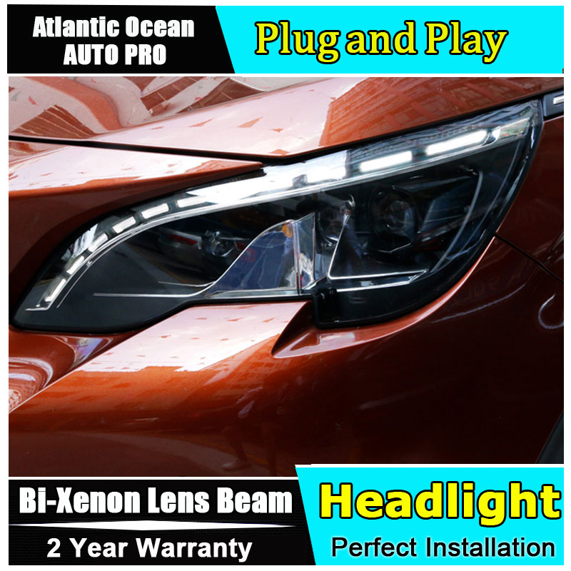 Auto part Style LED Head Lamp for Peugeot 4008 led headlight 2017 for 4008 drl H7 hid Bi-Xenon Lens angel eye low beam hireno headlamp for peugeot 4008 5008 headlight headlight assembly led drl angel lens double beam hid xenon 2pcs