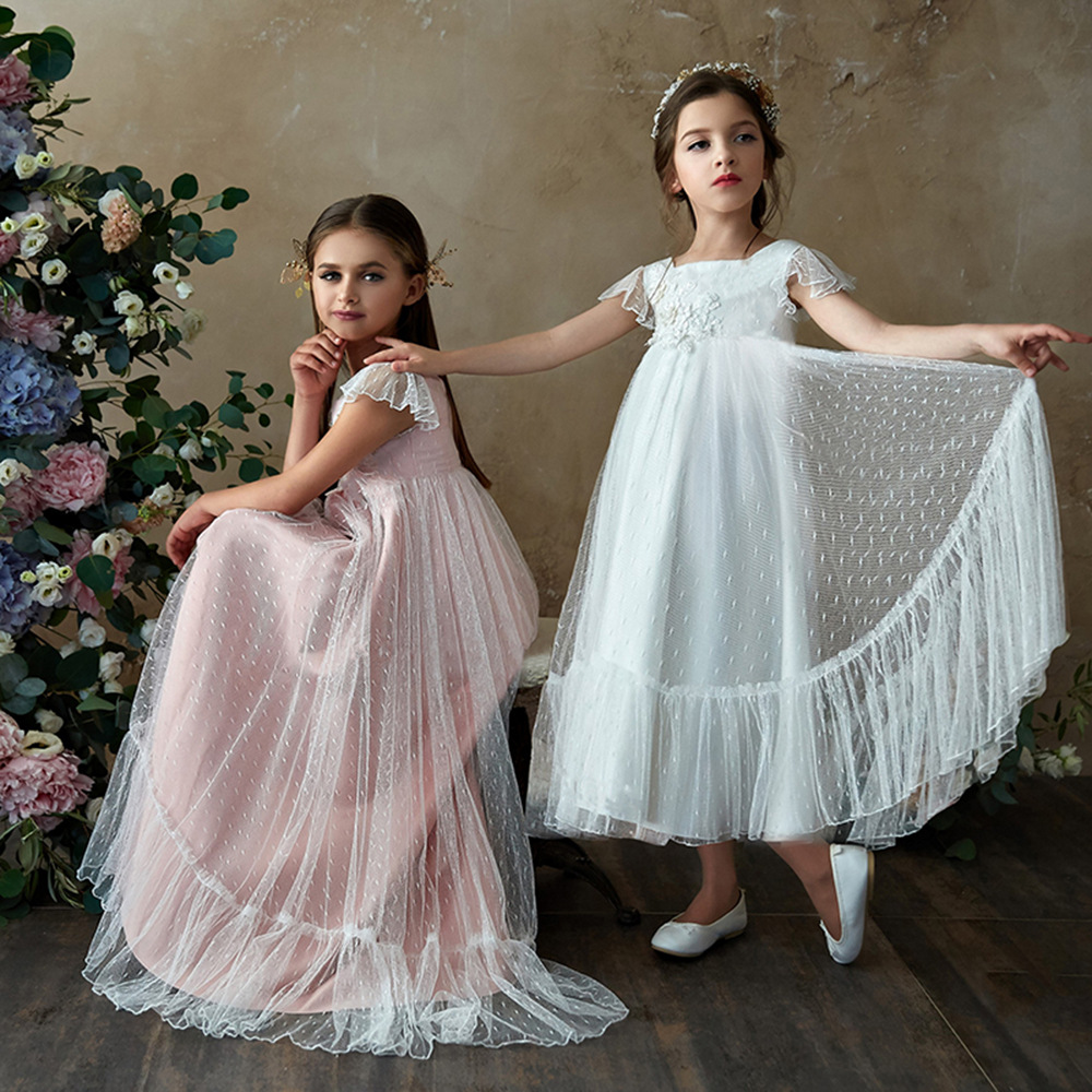 Sweet Flare Sleeve Beading Lace   Flower     Girl     dresses   Princess Long   Girls   First Communion Gowns 2019 Special Occasion   Dresses