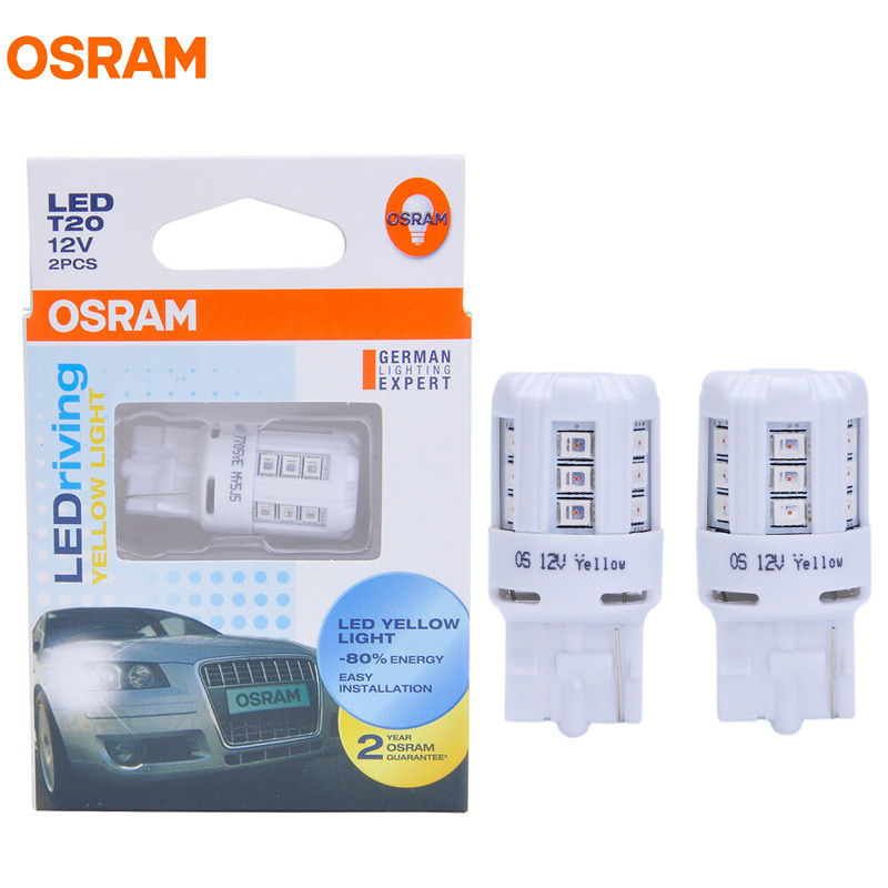 OSRAM LED T20 7705YE 12V 1W WY21W Yellow LEDriving Standard Auto Side Marker Lamps OEM Turn Signal Light For Honda Toyota Pair ресурс 7705