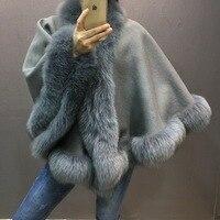 Шаль из натурального овечьего меха с отделкой из натурального Лисьего меха Модные женские теплые осенние зимние накидки и обертывания серы