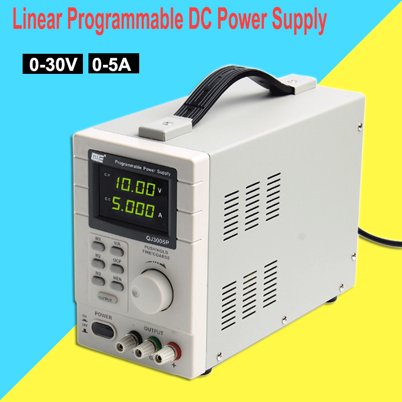 Adjustable Digital 220V Linear Programmable DC Power Supply QJ3005P 30V 5A 0.01V 0.001A USB Remote Control Via Computer qj3005p 30v 5a highly accurate adjustable digital dc regulated power supply remote control via pc dc jack eu us au plug