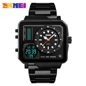 Image 2 - SKMEI relojes deportivos de cuarzo Digital para hombre, correa de acero inoxidable, resistente al agua, informal