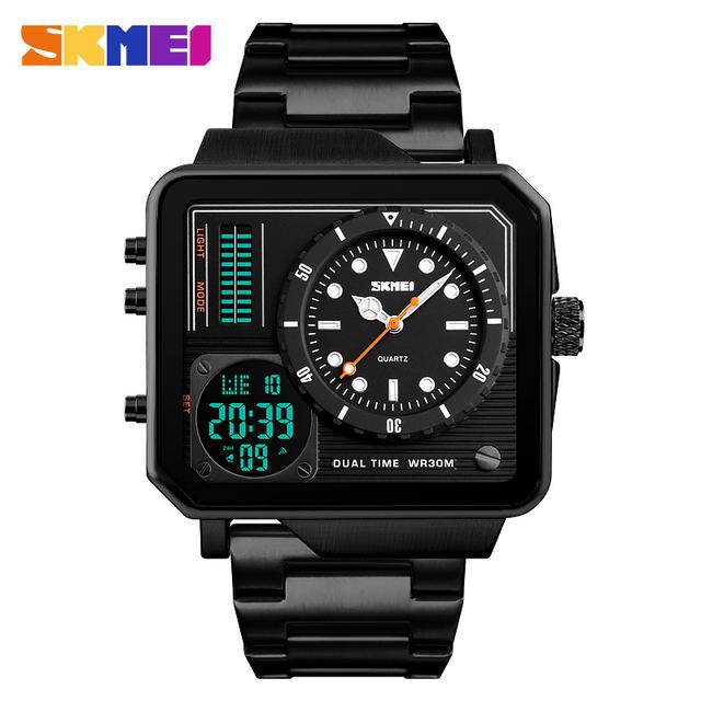 Top Luxury Mens Watches SKMEI Brand Sport Digital Quartz Watch Men Stainless Steel Strap Waterproof Fashion Casual Clock Male