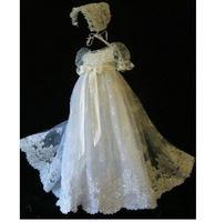 Новый Кружево бисером Крещение платье платья для малышек новорожденных белый/слоновая кость Крещение платье Любой Размер
