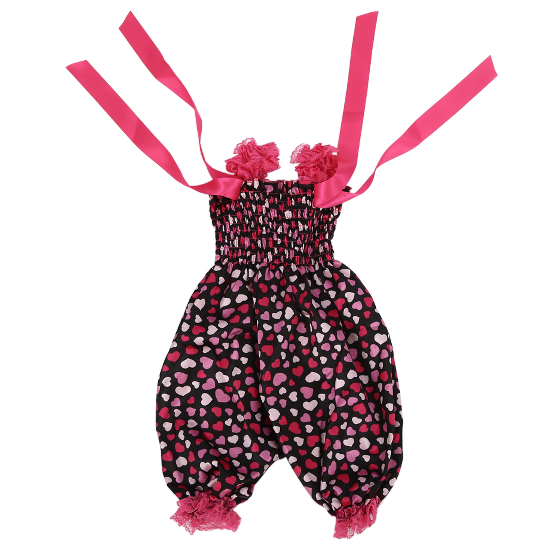Newborn Infant Baby Girl Ruffle Rompers Dress One-Piece On red hearts Tutu Lace Bust 32-56cm length 50cm.