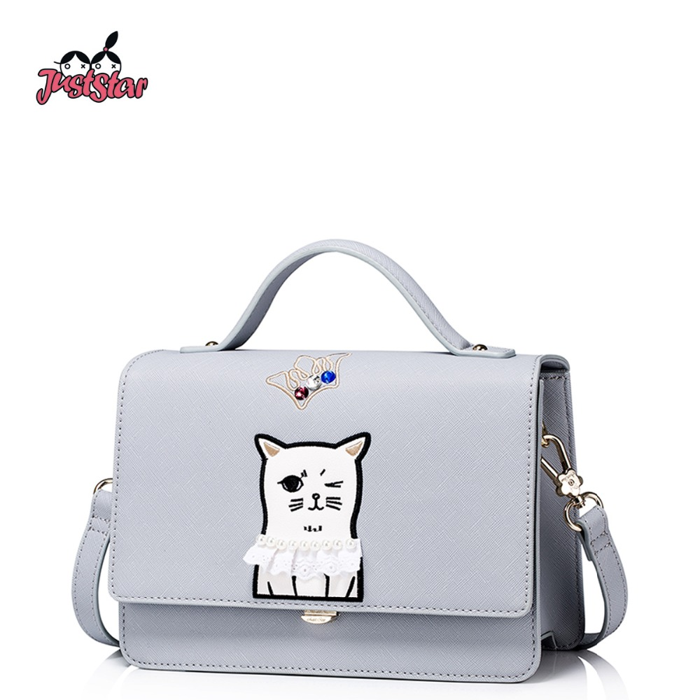 JUST STAR Women's PU Leather Handbags Ladies Fashion Embroidery Funny Cat Tote B