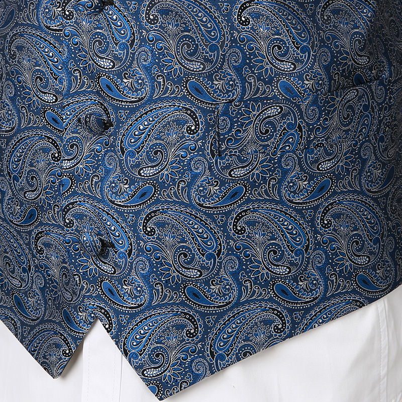 Мужские Классические Вечерние жаккардовые жилеты в клетку с узором пейсли и цветочным принтом, 3 предмета в комплекте(жилет с квадратным карманом и галстуком