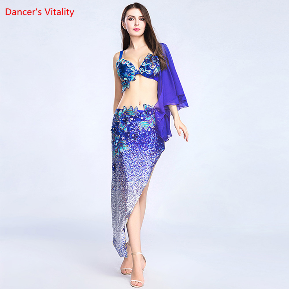 The New 2pcs Luxurious Costume Women s Dancer Stage Show Wearing Bra Triangle Dress Skirt Suit