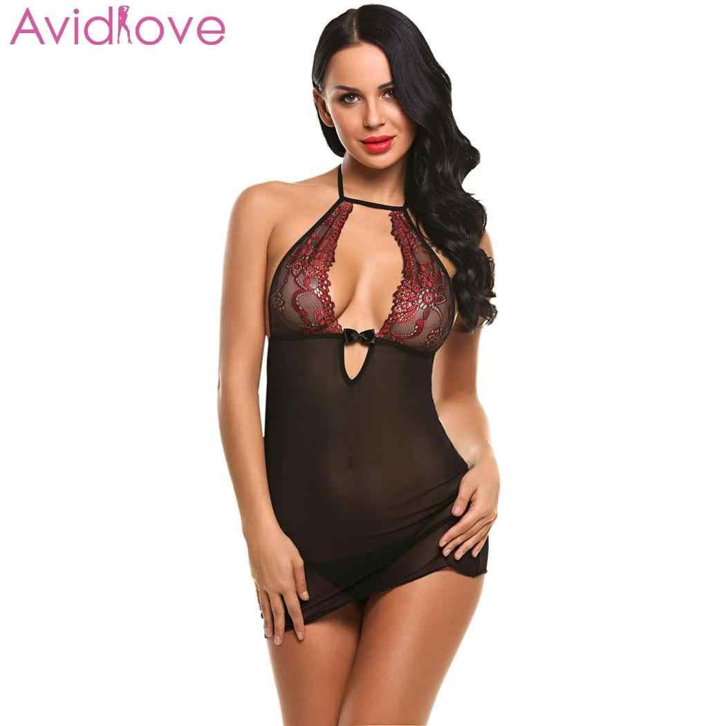 8758812cc Avidlove Women Sexy Underwear Sexy Lingerie Erotic Costumes Babydoll  Nightwear Patchwork Mini Hollow with G-