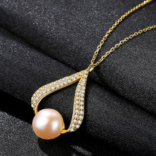 Luxury perfectly semiround chain necklaces bohemian 925 sterling silver natural freshwater pearl bijoux wedding gifts