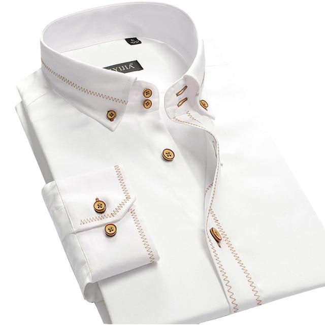 100% Качество Хлопка Мужчин Рубашки Платья Края Шить на Пуговицах С Длинным Рукавом Бренд Одежды Сплошной Цвет Мужчины Бизнес Случайный рубашка