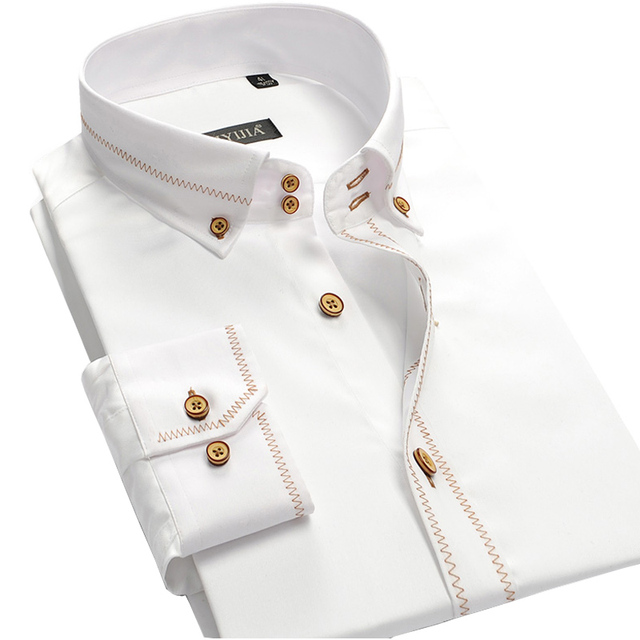 100% Cotton Quality Men Dress Shirts Edge Stitching Button-Up Long Sleeve Brand Clothing Solid Color Men Business Casual Shirt