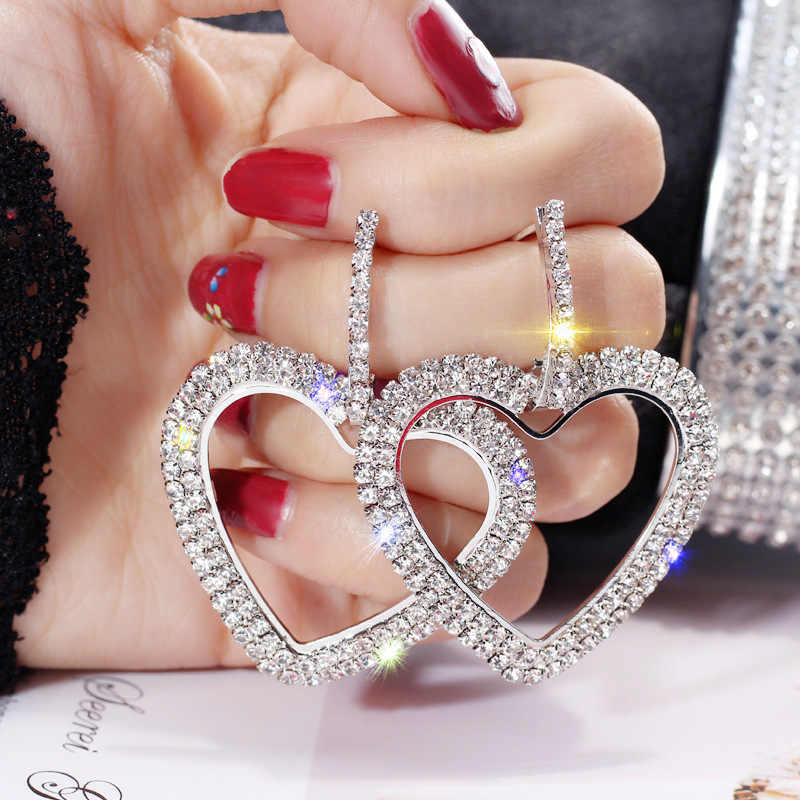 Crystal Rhinestone Hollow Heart Drop Earrings for Women Fashion ZA Jewelry Korea Shiny Earrings Party Brincos
