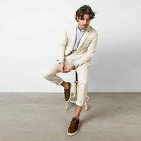 Latest Coat Pants Design Ivory Linen Business Men Suits Wedding Groom Tuxedo 2Piece Terno Masculino Costume Homme Man Blazers