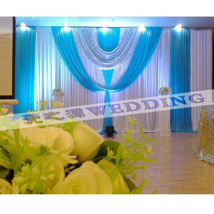 Hotsale White And Tiffany Wedding Backdrop Curtain With Swag