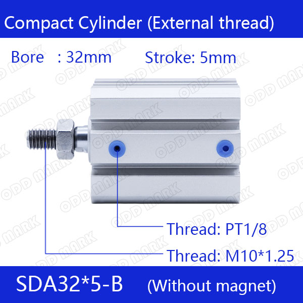 SDA32*5-B Free shipping 32mm Bore 5mm Stroke External thread Compact Air Cylinders Dual Action Air Pneumatic Cylinder free shipping  32mm 33 meters  0 06mm